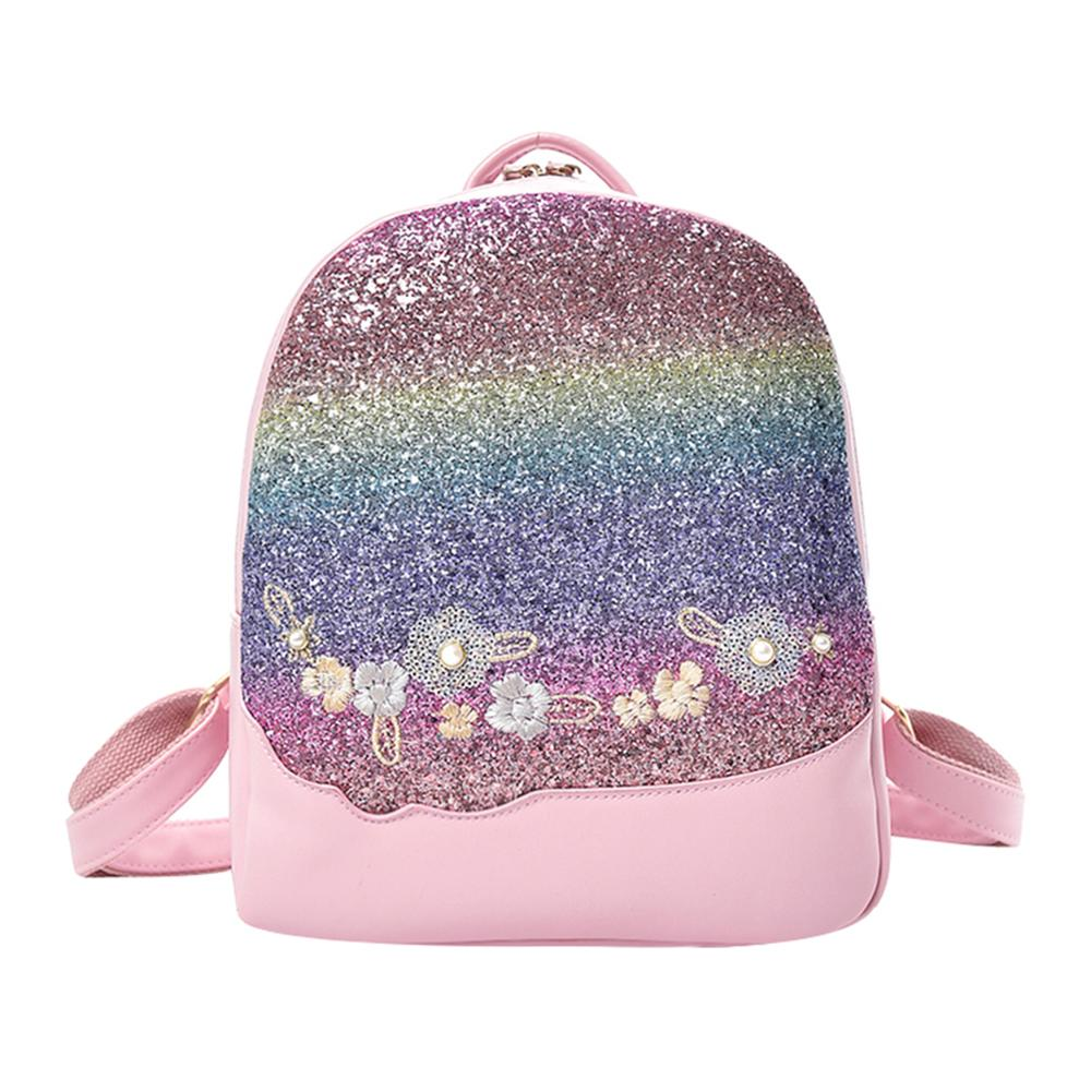 Bling Glitter Rucksack Shining Color Sequins Backpack Women Floral Pu Leather Knapsack Girls Small Travel School Bag Mochila