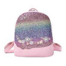 Bling Glitter Rucksack Shining Color Sequins Backpack Women Floral Pu Leather Knapsack Girls Small Travel School Bag Mochila