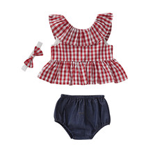 Newborn Baby Girls Clothes Sets Cotton Princess Ruffle Plaid Tops Dress+Denim Shorts+Headband 3Pcs Toddler Kids Outfits Suits(China)