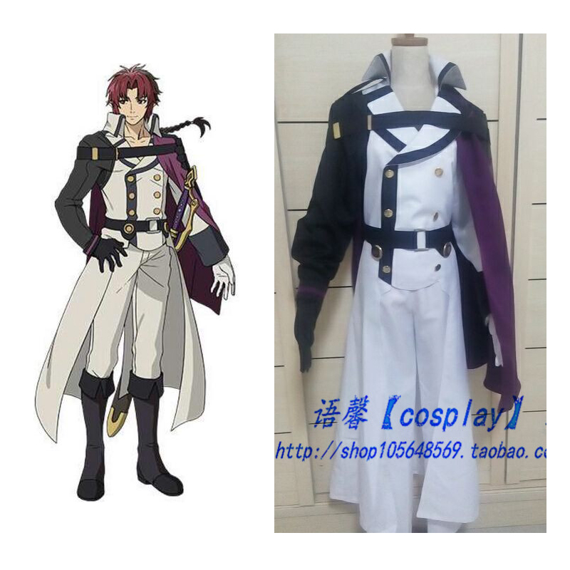 2016 Seraph of the End Crowley Eusford Uniform Halloween Party Cosplay Costumes For Men New Arrival