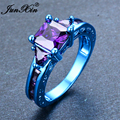 JUNXIN Female Purple Geometric Ring Ring Retro Blue Gold Filled Fashion Jewelry Vintage Wedding Rings For Women New Year Gifts