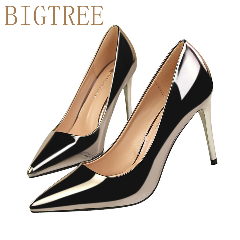 Spring Career OL Single shoes women pumps Stylish simplicity Patent leather Shallow mouth Pointed 9 CM Fine high heels shoes koovan women pumps high heels 2017 spring autumn tide diamond tip fine single shoes satin pearl shallow mouth women sandals