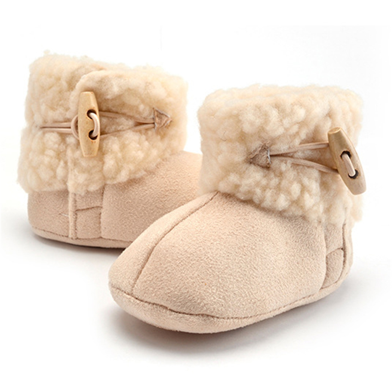 2019 New Winter Genuine Leather Baby Shoes Boots Infants Warm Shoes Fur Wool Girls Baby Booties Sheepskin Boy Baby Boots