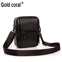 Gold Coral Male Casual Shoulder Bag Man Bag Waist Pack Cowhide Genuine Leather Bag Strap Mobile
