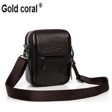male casual shoulder bag man bag waist pack cowhide genuine leather bag strap mobile phone bag