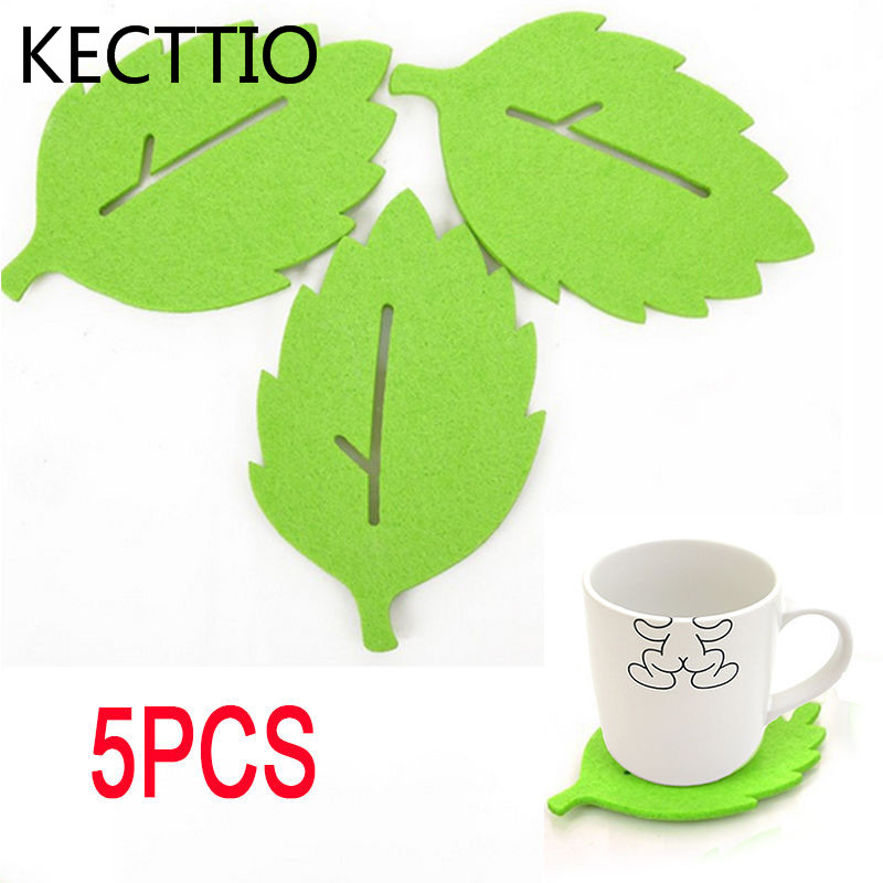 5PCS Cute Green Leaf Tea Cup Coaster Heat Insulation Felt Mat Office Home Decor