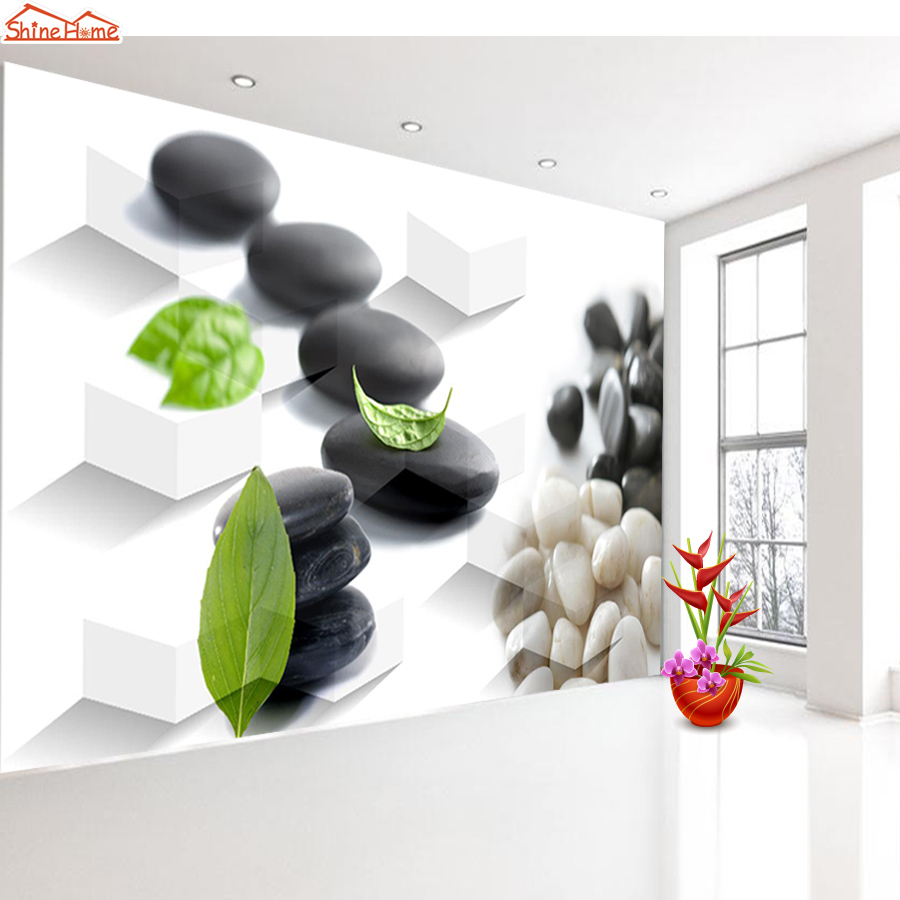 Shinehome-3 d Brick Wallpaper for 3d Livingroom Wall Paper Roll SPA Salon Leaf on Stone Massage Mural Rolls Papel De Parede Art shinehome abstract brick black white polygons background wallpapers rolls 3 d wallpaper for livingroom walls 3d room paper roll