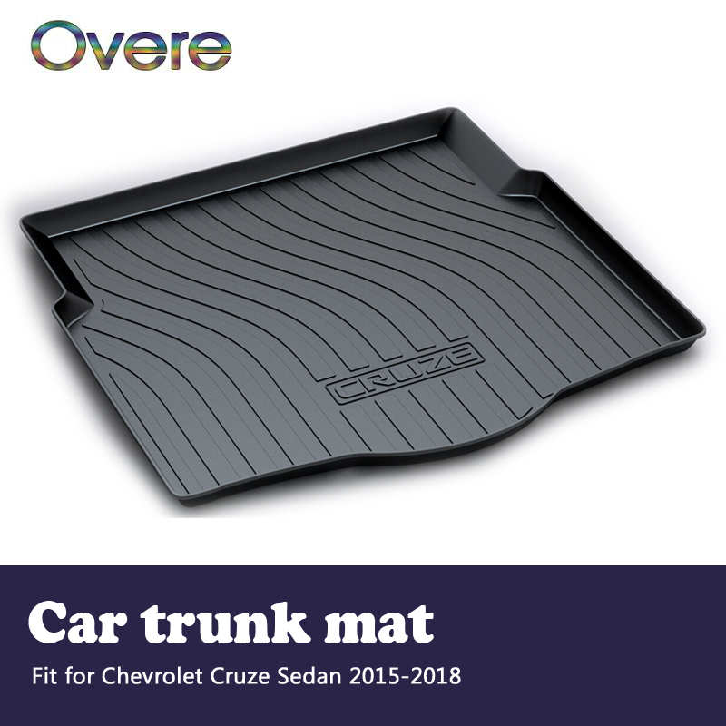 Overe 1Set Car Cargo rear trunk mat For Chevrolet Cruze Sedan 2015 2016 2017 2018 Boot Tray Waterproof Anti-slip mat Accessories high quality car central station mat sticker for chevrolet cruze black 1pcs free shipping kl12329