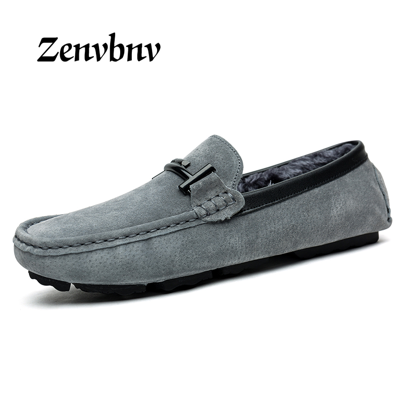 ZENVBNV New Casual Shoes Winter Fur Men Loafers 2017 Slip On Fashion Drivers Loafer Cow Suede Leather Moccasins Big size 37~46 2017 big size 38 46 genuine cow leather shoes men slip on mens shoes casual flats men loafers moccasins warm plush winter shoes