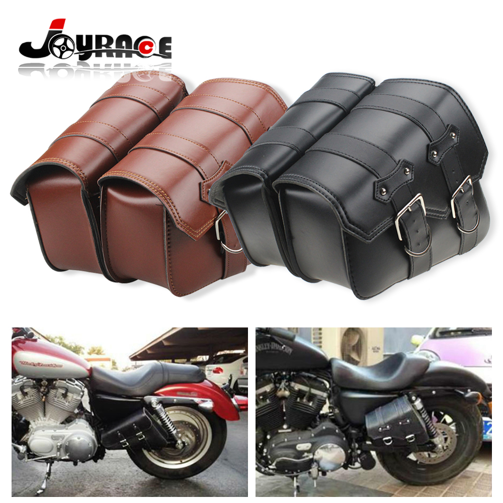 2 X PU Leather Motorrad Sportster Sacoches Saddle Bags for Harley Davidson Sportster Tool Bag XL883 XL1200 Brown/Black motorcycle parts black deep cut finned derby timing timer cover for harley davidson sportster xl883 xl1200
