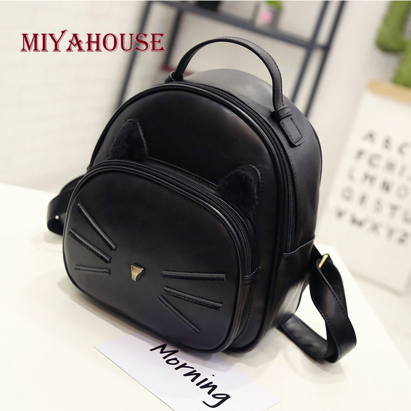 Miyahouse Cat Design School Backpack Women PU Leather Lady Backpack With Cute Ear High Quality Small Travel Bag Girls fashion new backpack high quality pu leather women bag sweet girl mini shoulder bag cute rabbit ear sequins rivet small backpack