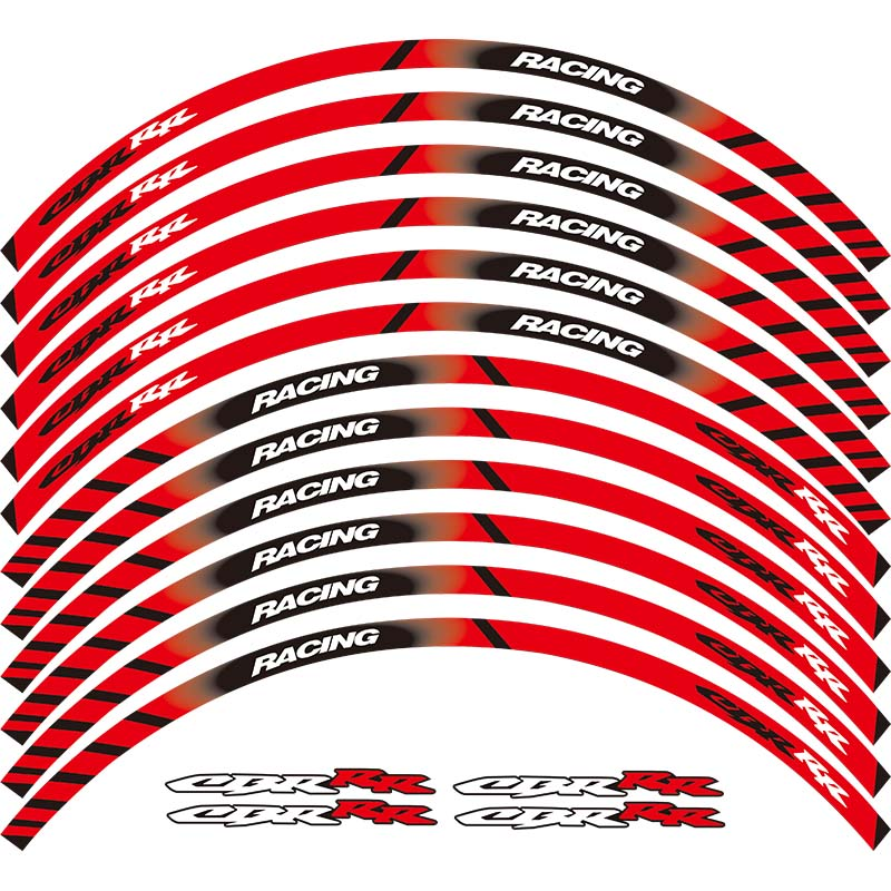 For All HONDA REPSOL HRC CBR250RR CBR400RR CBR600RR CBR1000RR 12 X Thick Edge Outer Rim Sticker Stripe Wheel Decals