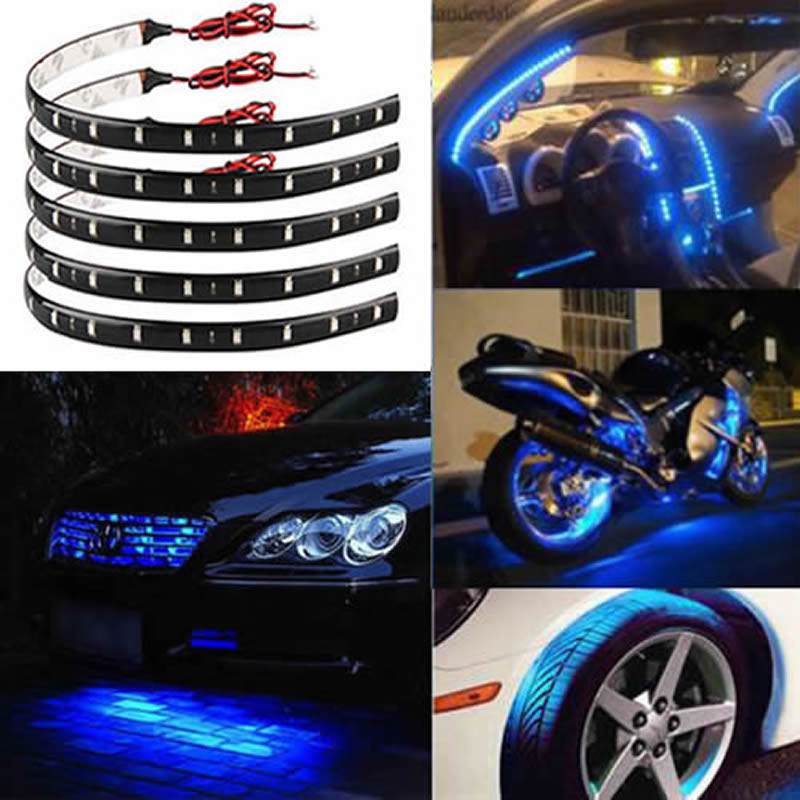 12V 30CM LED Strip 32LED 3528 SMD Waterproof Flexible Light Led Tape Green White Red Blue RGB For Car And Home Decoration Lamps  30cm blue lights flexible led strip light ribbon waterproof smd 15 leds car auto decoration tape shakeproof eagle eye fog lamp