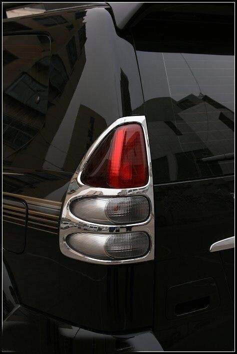 2003 2004 2005 2006 2007 2008 2009 fit for Toyota Prado Land Cruiser FJ120 ABS Plastic Chrome Rear Tail Light Lamp Cover Trim 2 pcs pair rear bumper lights without bulbs tail fog lamps for toyota land cruiser prado fj120 2002 2009