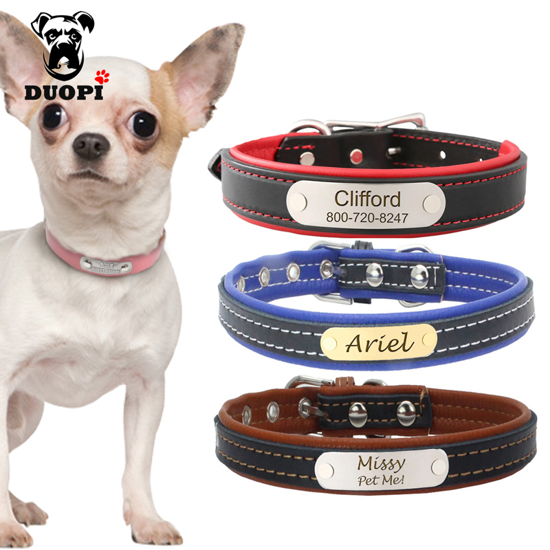 Personazlied Dog Collar Customized Pet Collar Leather Anti-lost Nameplate Tags Collars Free Engraved For Small Medium Large Dogs