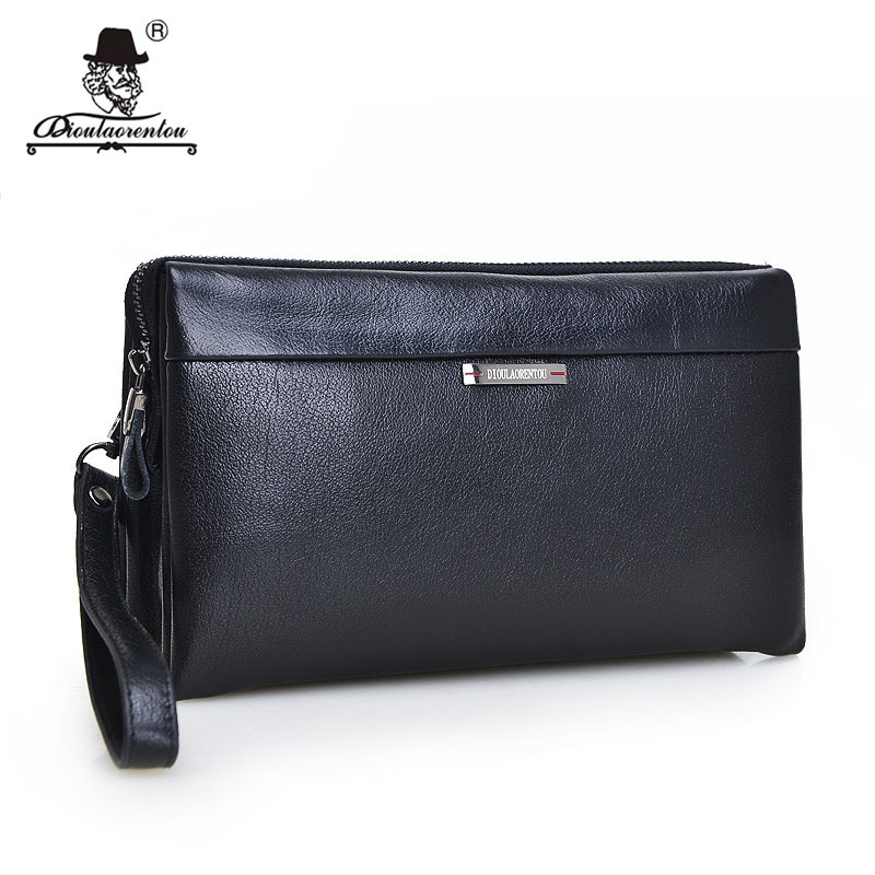 High Quality 2017 Vintage Business Hand Bag Men Clutch Bags Long Genuine Leather Wallet Luxury Brand