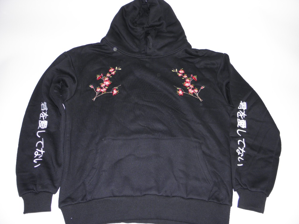hooded Korean embroidery flowers Japanese BF wind autumn and winter new