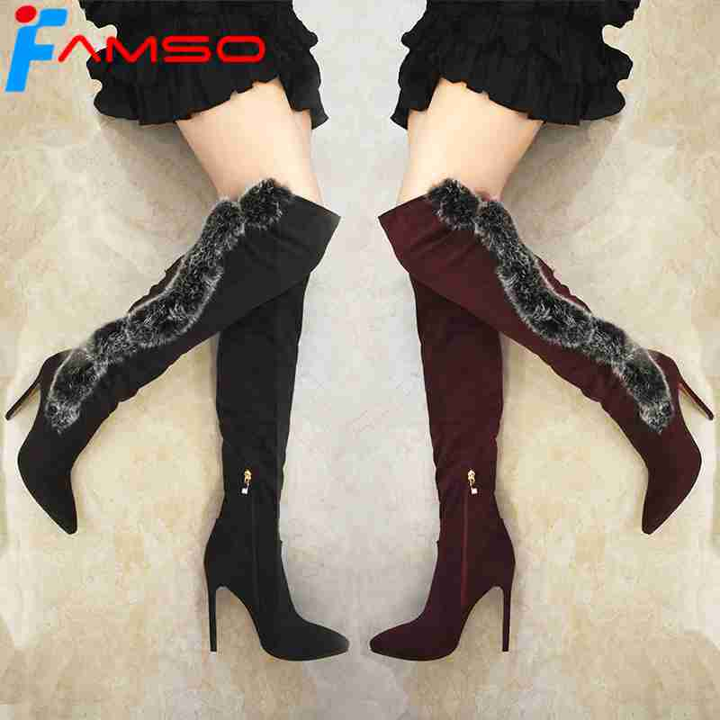FAMSO 2018 Big Size 34-43 New Women Boots Black red Autumn Real Fur Boots Pointed Toe High Heels Winter Over The Knee Boots memunia over the knee boots for women autumn winter zip high heels shoes fashion womens boots pointed toe big size 34 43