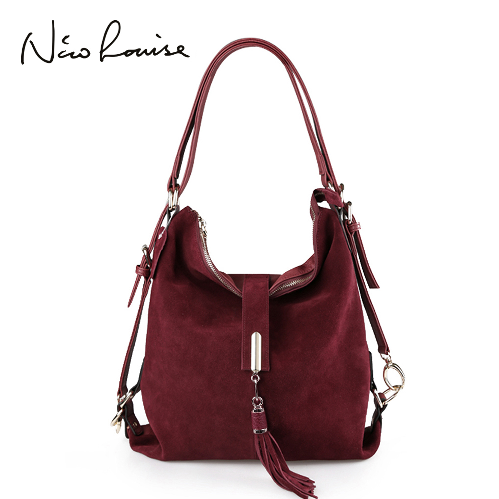 Nico Louise Women Real Suede Leather Shoulder Bag Female Leisure Nubuck Convertible Handbag Hobo Messenger Top-handle Bags Purse