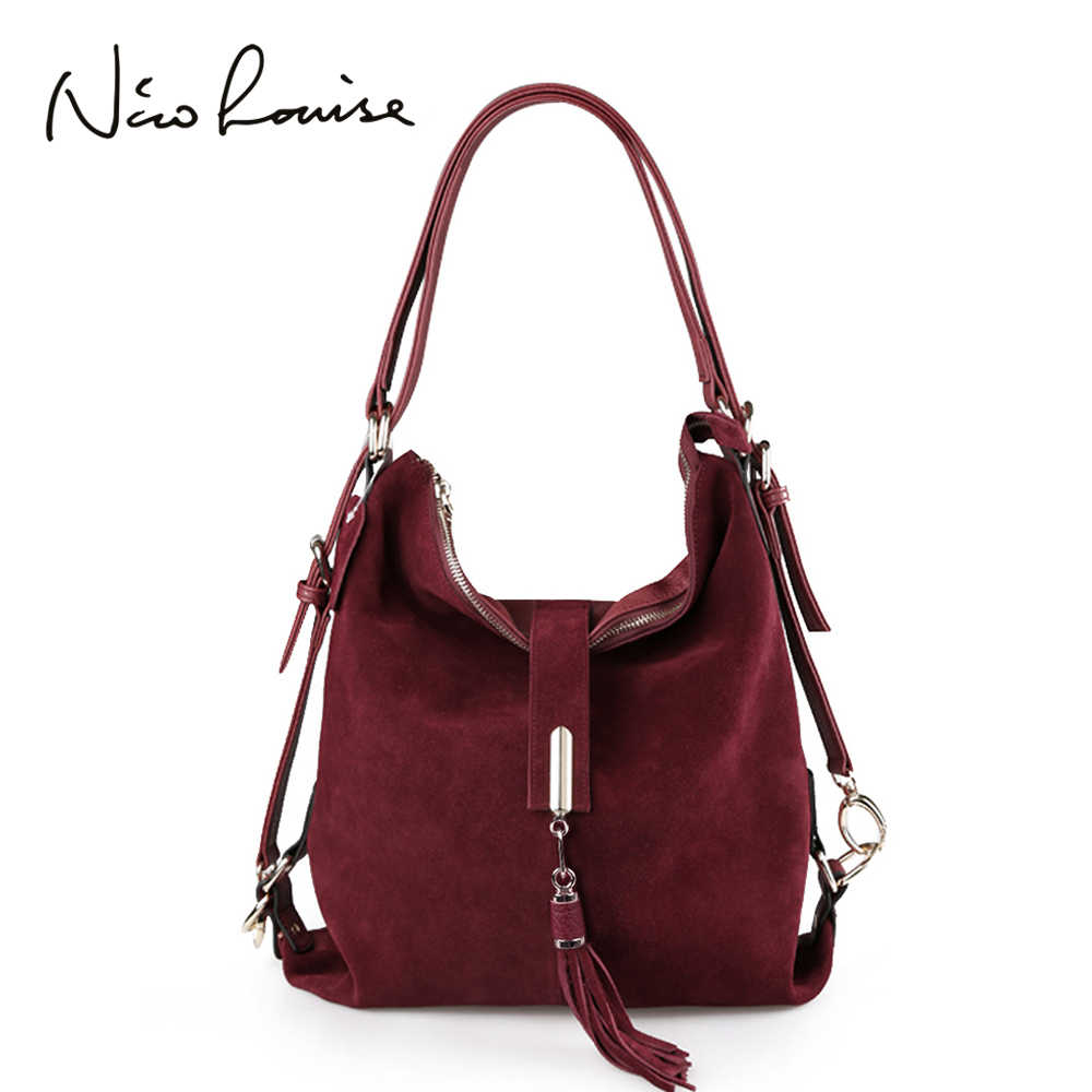 Nico Louise, женская сумка на плечо из натуральной замши, женская сумка для отдыха из нубука, сумка-хобо, сумка-мессенджер, сумки с верхней ручкой, кошелек