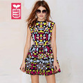 HYD Export Newest Womens Colorful Abstract Totem Dress Ladys Backless Sexy A-Line Slim Waist Dress Summer