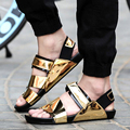 2016 Летние мужчины сандалии золото PU кожаные сандалии мужчин сандалии моды самые популярные пляжные сандалии 06
