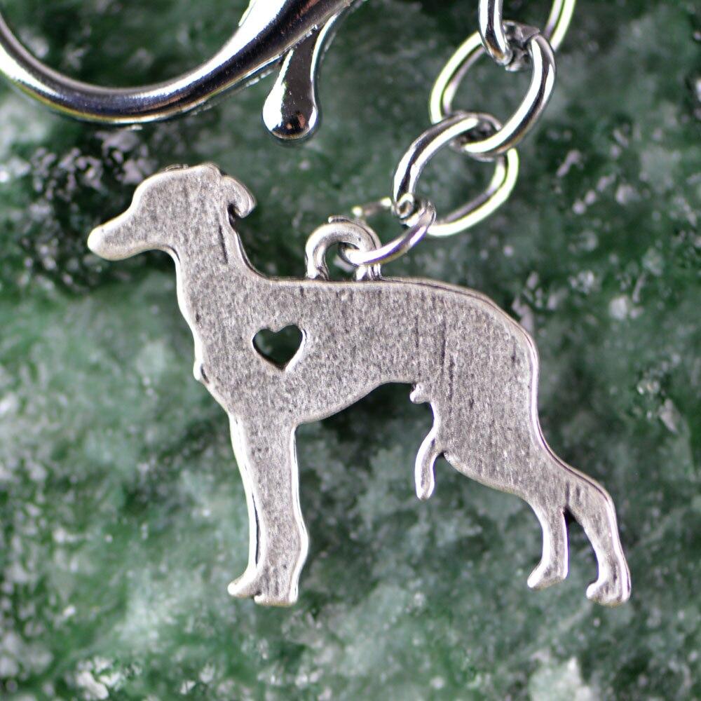 Italian Greyhound Animal Key Chain Dog Pets Antique Silver Metal Galgo Keyring A005