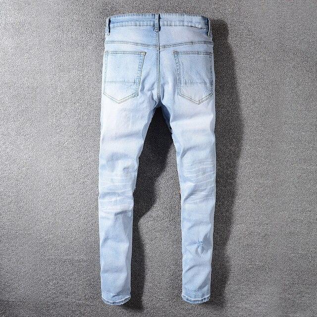 Мужские джинсы с леопардовым принтом Sokotoo с заклепками заплатками и звездами голубые рваные джинсы зауженные стрейчевые брюки