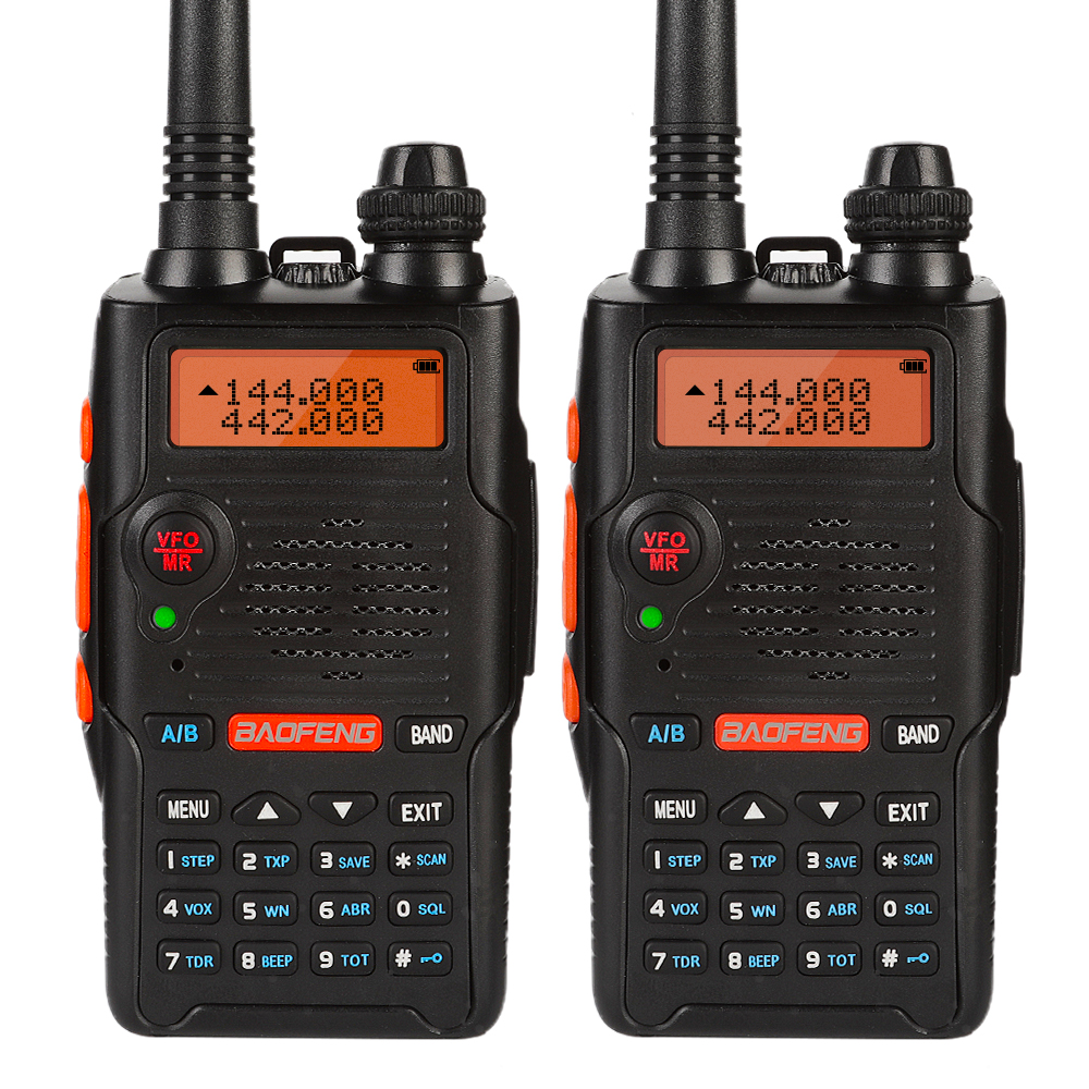 2 PCS Baofeng UV 5R EX 5W Dual Band Two Way Radio Walkie Talkie Rechargeable Long Range Ham Radio with Earpiece Desktop Charger