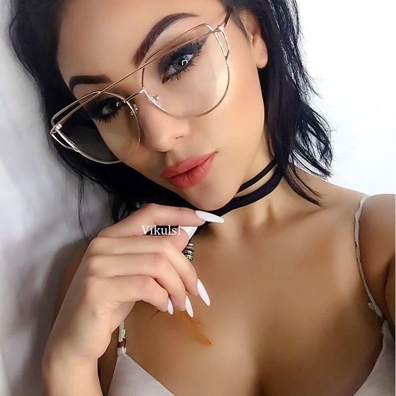Quality Vintage Cat Eye Glasses Clear Lens Men Women Fashion Gold Metal Frame Eyeglasses Oversized Black