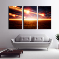 3 Picture Combination Meteor Shower Across The Sky Canvas Painting For Home Decoration Unique Wall Pictures