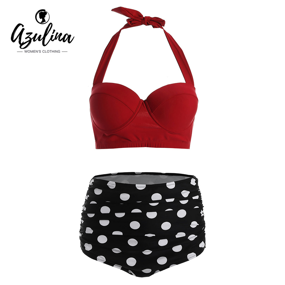 AZULINA Plus Size Halter Retro Bikini Set High Waist Swimsuit Polka Dot Bikinis Underwire Bikini Push Up Swimming Suit For Women hettich 4916qmt
