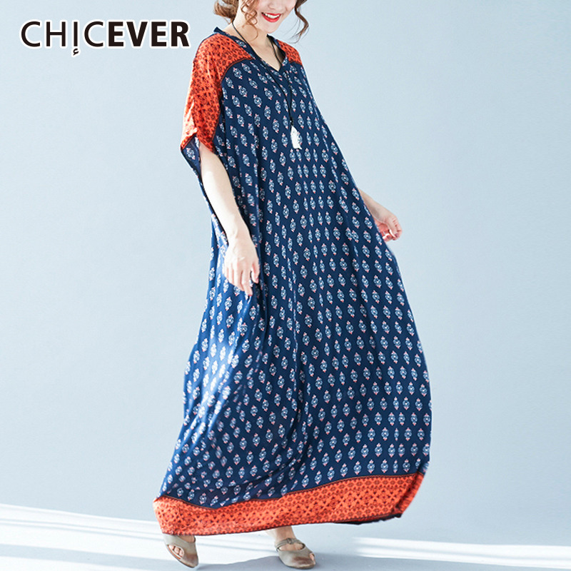 CHICEVER 2018 Summer Dress Female Short Sleeve Print Loose Big Size Hit Colors Womens Dresses Clothes Fashion Casual New