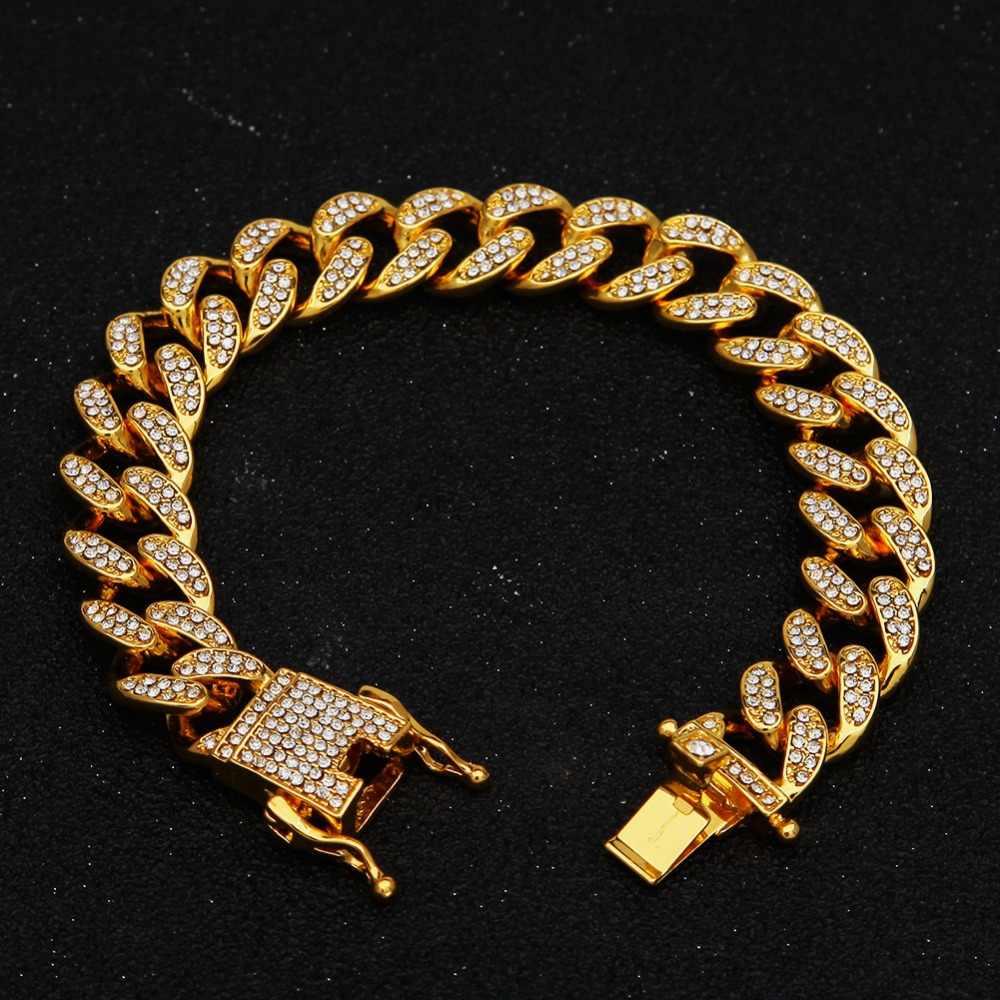 ヒップホップネックレスアイスアウトクリスタルラインストーンマイアミキューバチェーンゴールドシルバー色ジルコンネックレスブレスレットセットメンズ女性