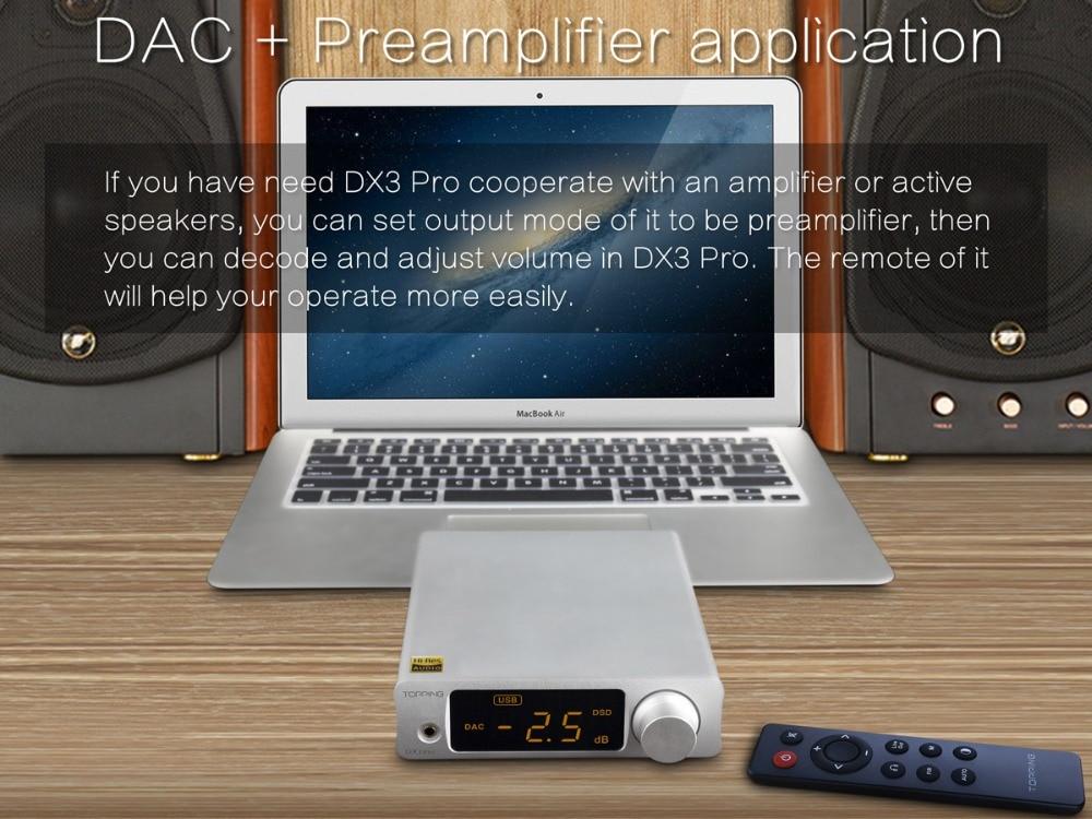 TOPPING DX3PRO USB DAC Bluetooth 5 0 AK4493 *2 XMOS XU208 DSD512 APTX-HD  Headphone Output AMP OPA1612