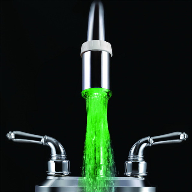 Single Green color faucet night light with adaptors without package ...