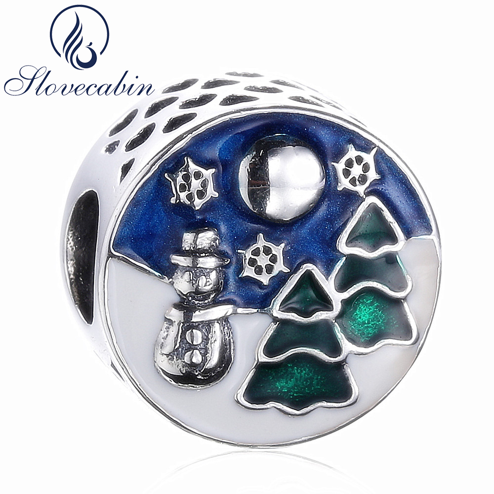 Slovecabin Diy Fit Pandora Charms Bracelet Real 925 Sterling Silver Snowman Enamel Women Beads For Jewelry Making Christmas Gift