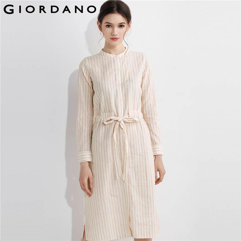 Giordano Women Shirt Dress Long Sleeves Crewneck Women Dressing Stripe Blouse Dress Fashion Brand Garment Vestidos