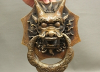 10 Old Chinese FengShui Bronze Copper Exorcism Dragon Head Door Knocker Statue