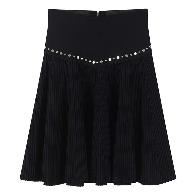 Women Skirt Zippers Hot Mirror Beading Mini Skirt Knitted Runway Design Summer Luxury High Waist Bottom