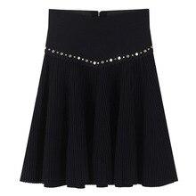 Femmes jupe fermetures à glissière miroir chaud perles Mini jupe tricoté été luxe taille haute bas Rivet jupe courte décontracté