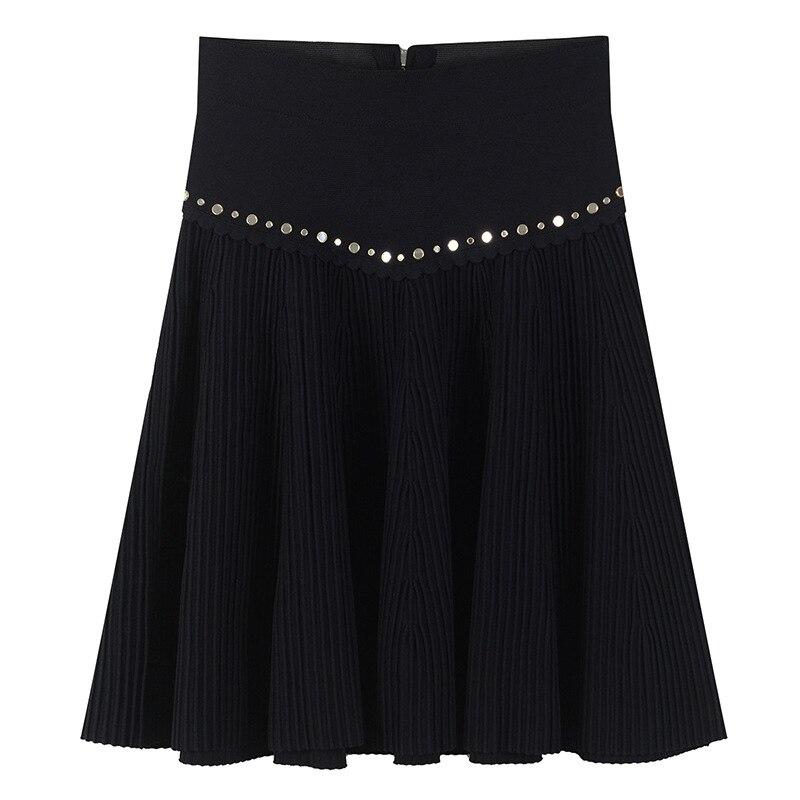 Kadın Giyim'ten Etekler'de Kadın Etek Fermuarlar Sıcak Ayna Boncuk Mini Etek Örme Pist Tasarım Yaz Lüks Yüksek Bel Alt Perçin Kısa Etek Rahat'da  Grup 1