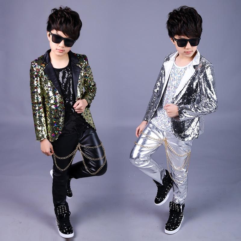 2019 Jazz Costume Vest Jacket Leather Pants Boys Sequin Dance Costumes Kids Hip Hop Clothing For Stage Show Dancewear DNV11049