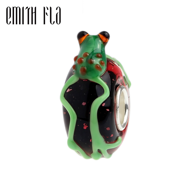 Emith Fla 925 Sterling Silver Large Hole Colorful 3D Animal Frog Murano Glass European Charm Beads Fit Brand Bracelet Jewelry