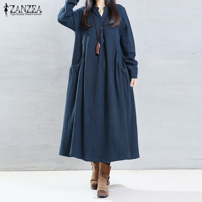 ZANZEA Women 2018 Autumn Vintage Casual Loose Solid Dress Sexy Female V Neck Long Sleeve Mid-calf Dress Vestidos Oversized S-5XL