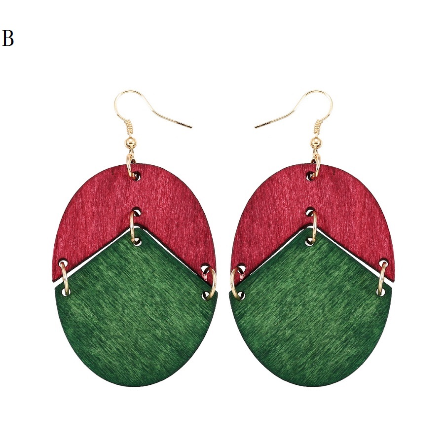 YULUCH 18 New Design Natural Wooden Earrings Two Colors Oval Wooden Earrings DIY Gold Hook Earrings For Woman Girls Jewelry 3