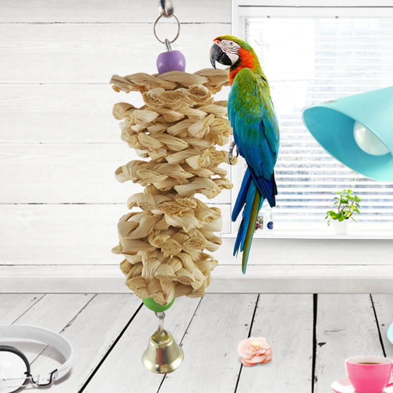 1 Pcs Bird Parrot Toys Natural Wooden Grass Chewing Bite Hanging Cage Accessories Bell Swing Climb Chew Toys Bird Supplies