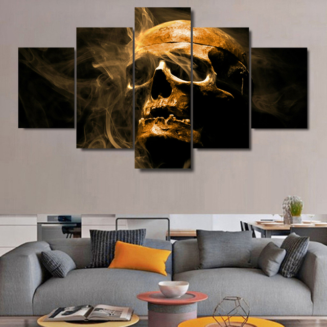 Modern Frames For Painting Modular Cheap 5 Panel Skull Pictures Wall ...