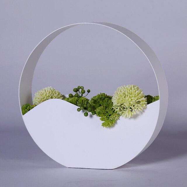 Simple Metal Desktop Artificial Flower Plant Pot Round White Aluminum Alloy Flower Vases Home Wedding Decorative Accessory