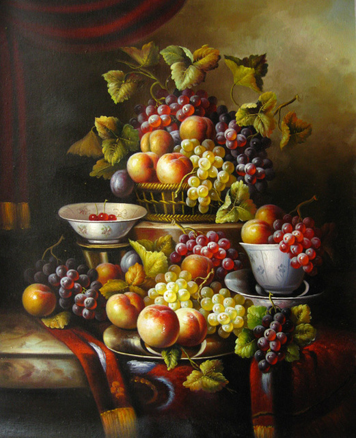 free shipping classical oil painting still life fruit plate decoration canvas printings on canvas wall art & free shipping classical oil painting still life fruit plate ...